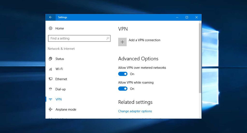 Adding a new VPN connection in Windows 10