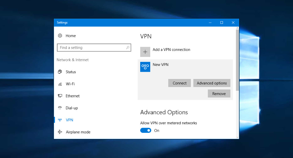 Settings of a new VPN in Windows 10 environment