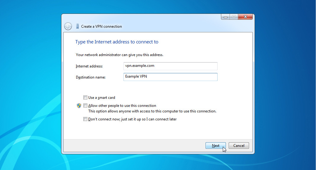 Creating a VPN connection in Windows 8