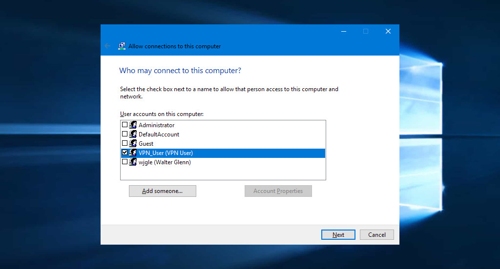 Setting up Windows VPN server users